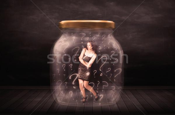 üzletasszony zárolt bögre kérdőjelek üveg szomorú Stock fotó © ra2studio