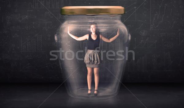 Kobieta interesu zamknięty wewnątrz szkła jar pojęcia Zdjęcia stock © ra2studio