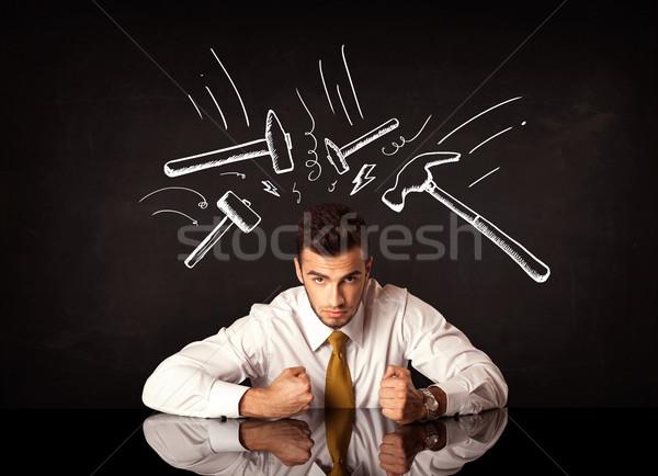 Deprimido empresario sesión martillo jóvenes blanco Foto stock © ra2studio