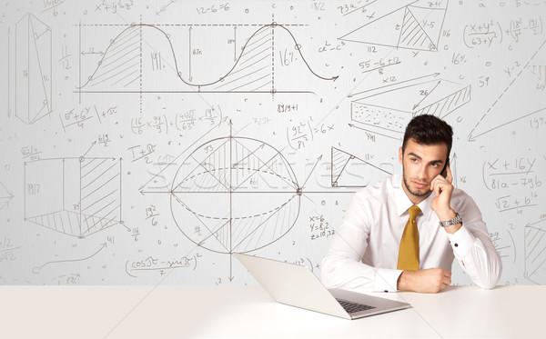 ビジネスマン ビジネス ビジネスマン 座って 白 表 ストックフォト © ra2studio