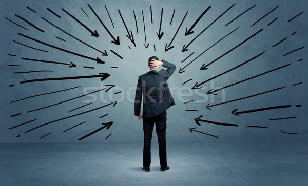 Em pé negócio masculino erro confuso empresário Foto stock © ra2studio