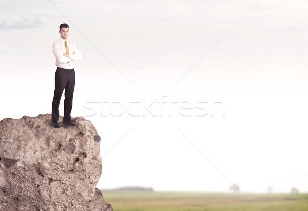 Happy salesman on cliff in the country Stock photo © ra2studio