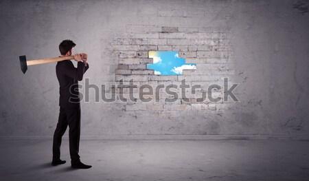 Business man hitting brick wall with hammer Stock photo © ra2studio