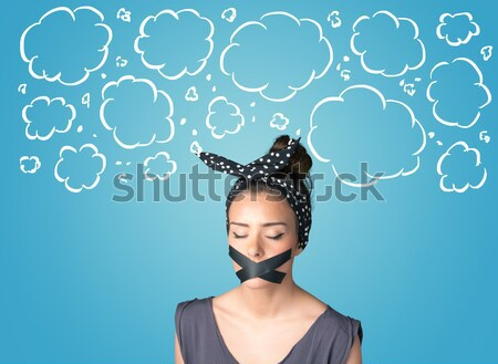 Funny person with taped mouth  Stock photo © ra2studio