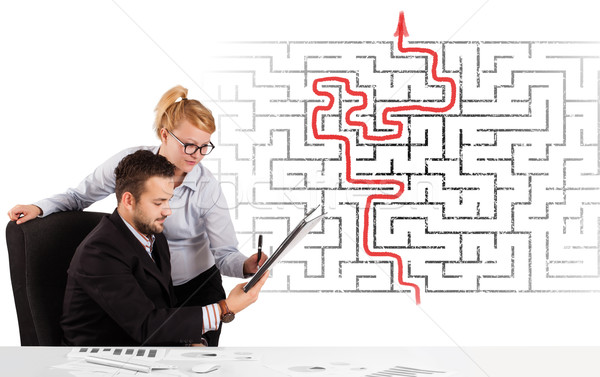 Business bureau labyrint pijl man Stockfoto © ra2studio