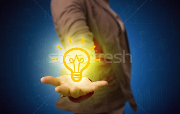 Ventas tipo brillante idea mano creativa Foto stock © ra2studio