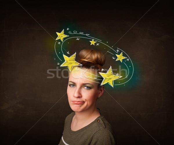 Meisje Geel sterren rond hoofd illustratie Stockfoto © ra2studio