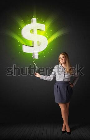 Kobieta interesu znak dolara balon zielone Zdjęcia stock © ra2studio
