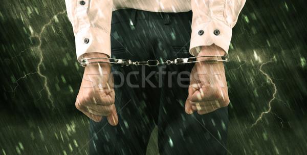Viharos tapéta zárt megbilincselve férfi rossz Stock fotó © ra2studio