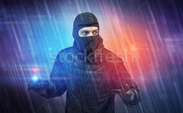 Ladrón acción colorido mano pared fondo Foto stock © ra2studio