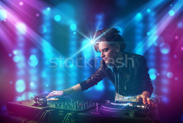 Stok fotoğraf: Kız · müzik · kulüp · mavi · mor · ışıklar