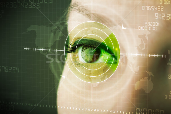 Cyber woman with modern military target eye Stock photo © ra2studio