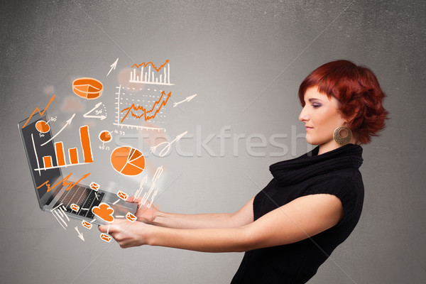 красивой Lady ноутбук статистика Сток-фото © ra2studio