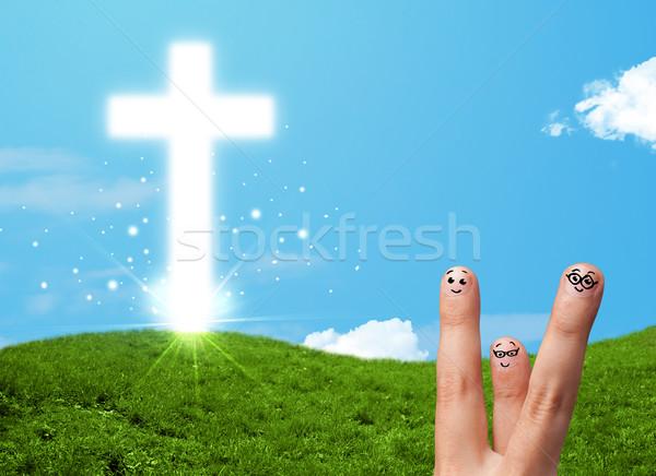 счастливым пальца христианской религии крест Сток-фото © ra2studio