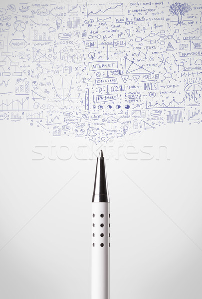 Stock photo: Pen close-up with sketchy diagrams