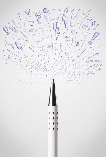 Toll rajz vázlatos nyilak vonalak iskola Stock fotó © ra2studio