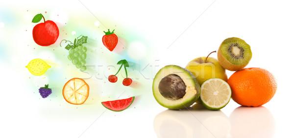 Colorido frutas ilustrado branco comida Foto stock © ra2studio