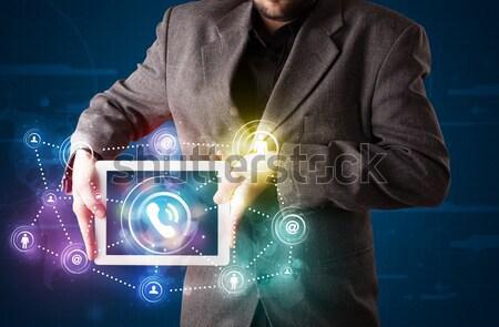小さな ビジネスマン 社会 ネットワーク 技術 ストックフォト © ra2studio