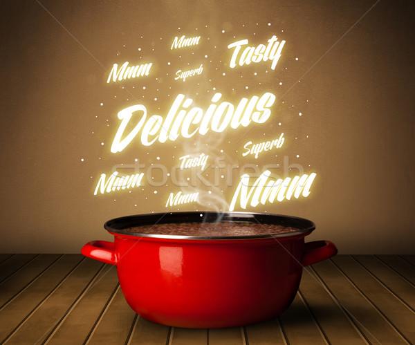 Lumineuses commentaires au-dessus marmite brillant alimentaire Photo stock © ra2studio
