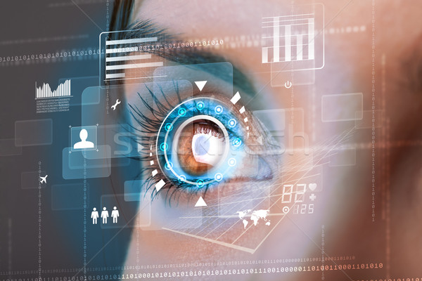 Future woman with cyber technology eye panel concept Stock photo © ra2studio
