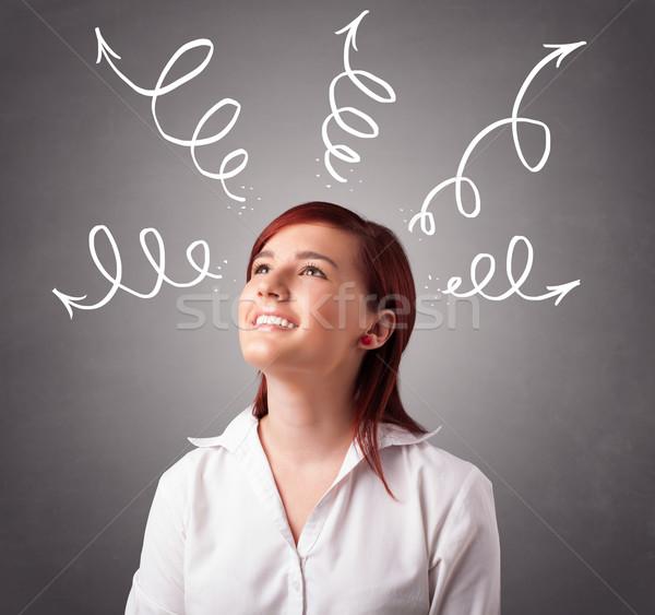 Сток-фото: мышления · Стрелки · красивой · девушки · улыбка