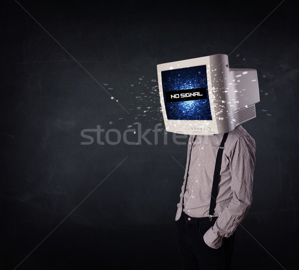 Mann Monitor Kopf keine Signal Zeichen Stock foto © ra2studio