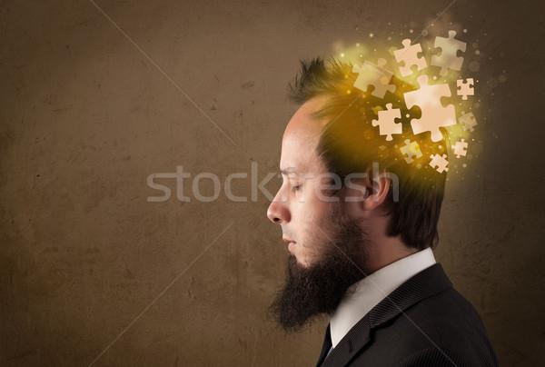 Сток-фото: молодые · человек · мышления · головоломки · ума