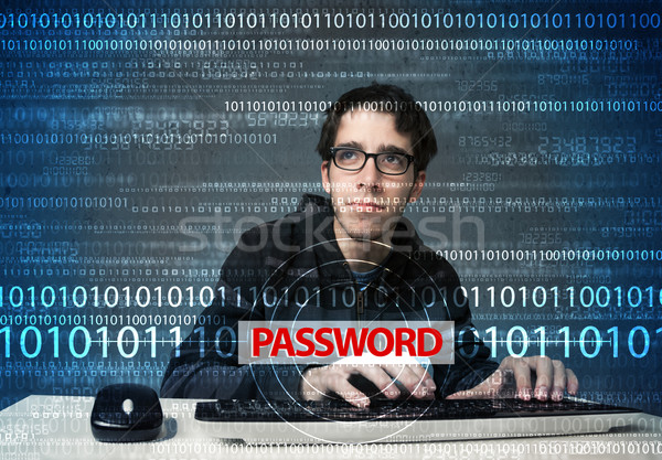 Young geek hacker stealing password  Stock photo © ra2studio