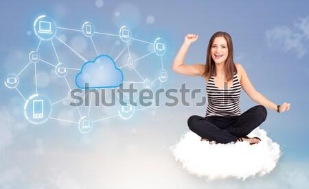 ストックフォト: 幸せ · 女性 · 座って · 雲 · 若い女性