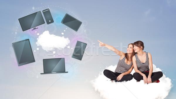 小さな 女の子 座って 雲 クラウドネットワーク ストックフォト © ra2studio