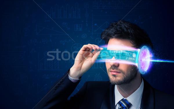 Hombre futuro alto tecnología gafas Foto stock © ra2studio