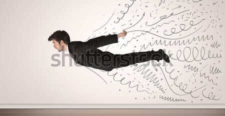 Business man flying with hand drawn lines comming out  Stock photo © ra2studio