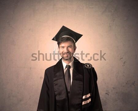 Portret jonge afgestudeerde student gelukkig Stockfoto © ra2studio