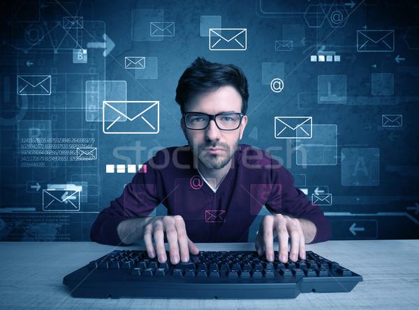 Intruder hacking email passcodes concept Stock photo © ra2studio