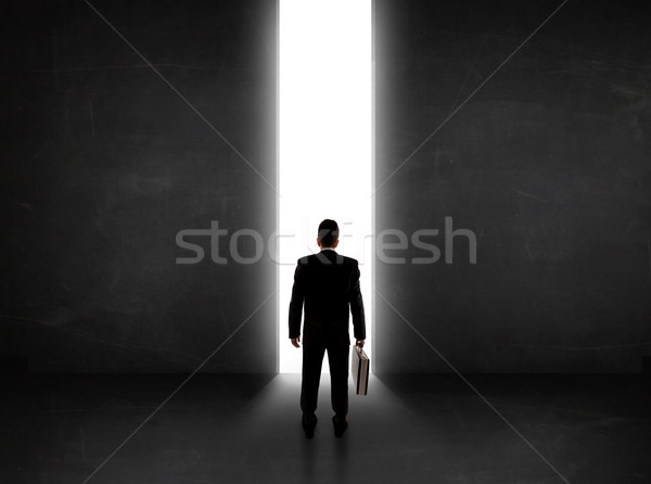 Business person looking at wall with light tunnel opening  Stock photo © ra2studio