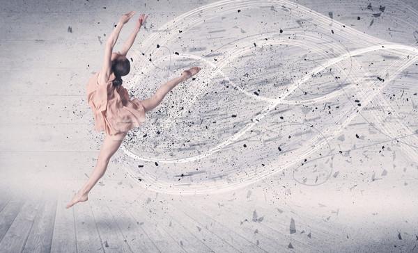 Előadás balett-táncos ugrik energia robbanás részecske Stock fotó © ra2studio