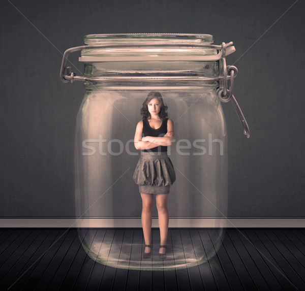 üzletasszony csapdába esett üveg bögre űr pénzügy Stock fotó © ra2studio