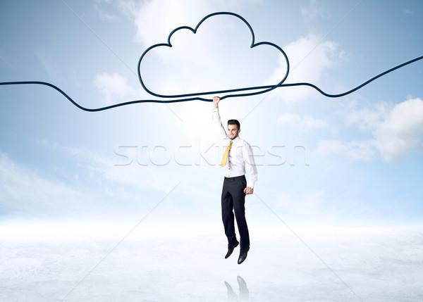 Akasztás üzletember felhő kötél űr segítség Stock fotó © ra2studio