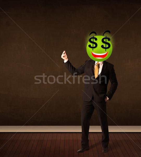Férfi dollárjel mosolygós arc üzletember mosoly boldog Stock fotó © ra2studio