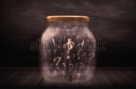 бизнесмен заблокированный банку стекла печально Сток-фото © ra2studio