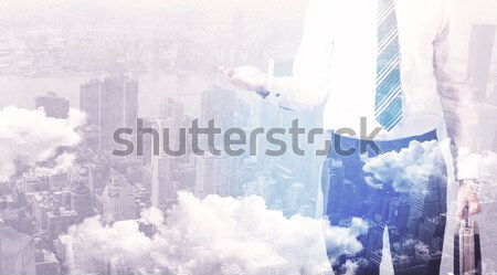 Zakenman permanente stad man achtergrond Stockfoto © ra2studio