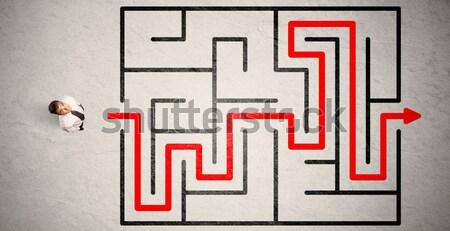 Elveszett üzletember út labirintus piros nyíl Stock fotó © ra2studio