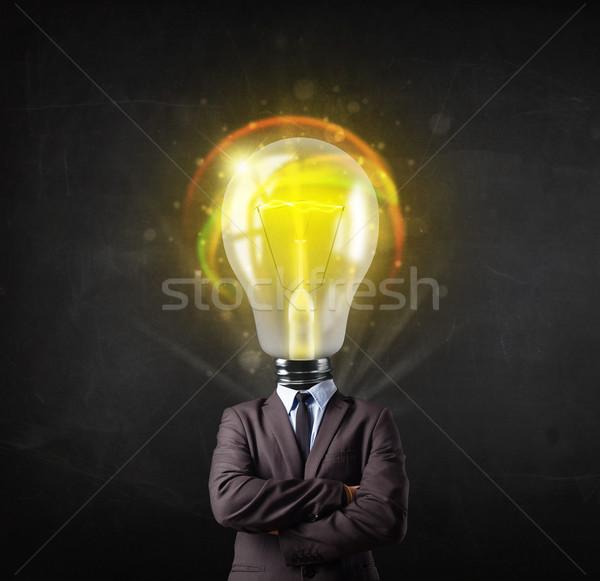 Hombre de negocios bombilla cabeza idea oficina hombre Foto stock © ra2studio