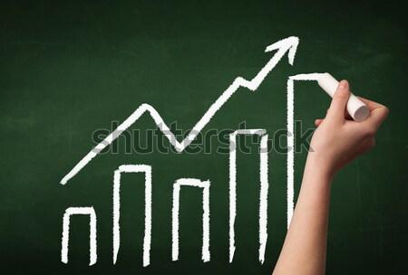手 図面 グラフ 黒板 成長した グラフ ストックフォト © ra2studio