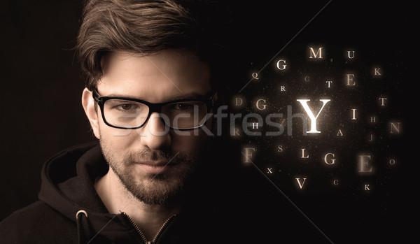 красивый бизнесмен алфавит письма связи Сток-фото © ra2studio