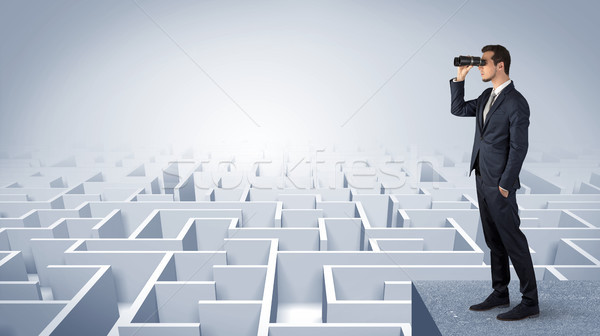 Stock photo: Man standing on top of a maze with binoculars