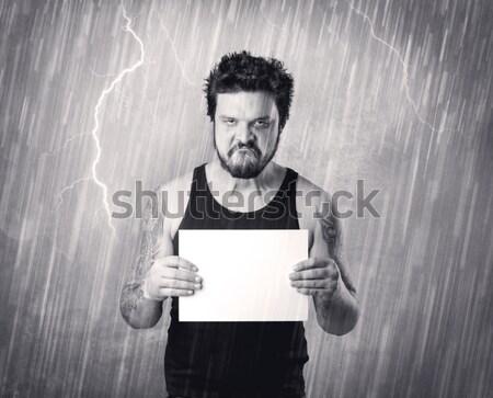 Gengszter börtön esős szürke fekete asztal Stock fotó © ra2studio