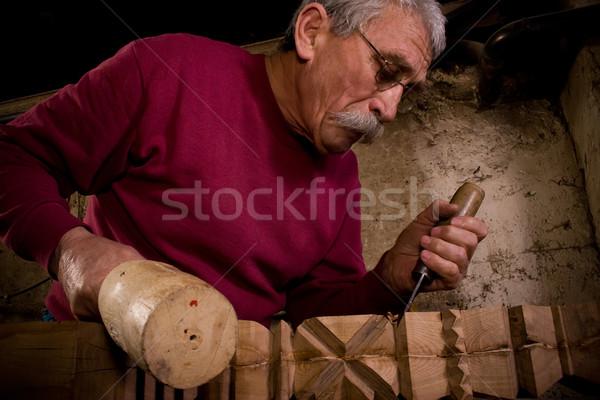 woodcarver work in the workshop 8 Stock photo © ra2studio