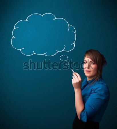 Stok fotoğraf: Güzel · bayan · sigara · içme · sigara · fikir · bulut