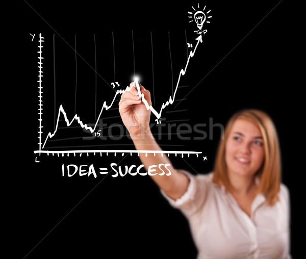 Stock fotó: Nő · rajz · grafikon · tábla · fiatal · nő · üzlet